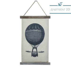 Retro Hotair Balloon Wood & Linen Hanging Scroll - Apartment 201