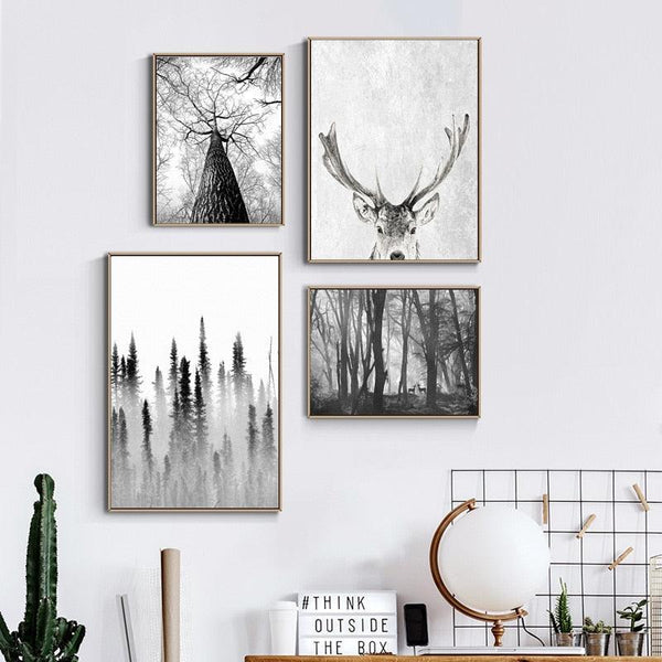 Scandinavian Forest Deer Eagle Black White Landscape Canvas Poster Nordic Wall Art Print Minimalist Painting Living Room Picture - Apartment 201