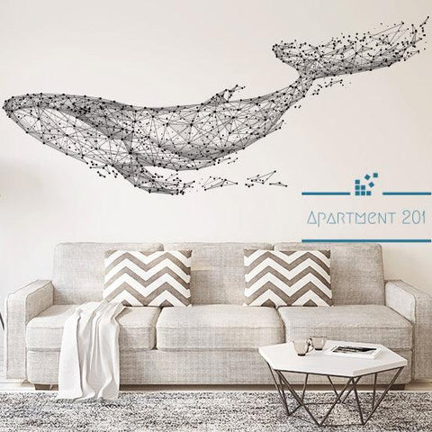 Geometric Whale Wall Decal - apt201