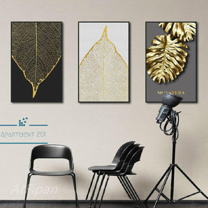 Shimmering Leaf Canvas Wall Art - Apartment 201