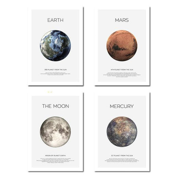 Solar System Picture Planet Earth Moon Mars Poster Astronomy Space Wall Art Canvas Print Painting Nordic Kids Room Decoration - Apartment 201