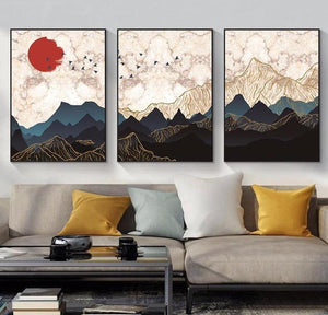 Sunset Mountain Peak Canvas Wall Art - Apartment 201