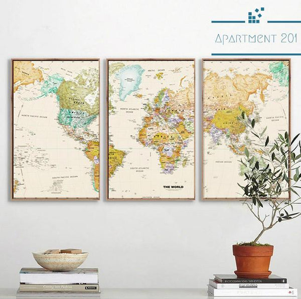 3 panel Vintage World Map Canvas Wall Art - Apartment 201