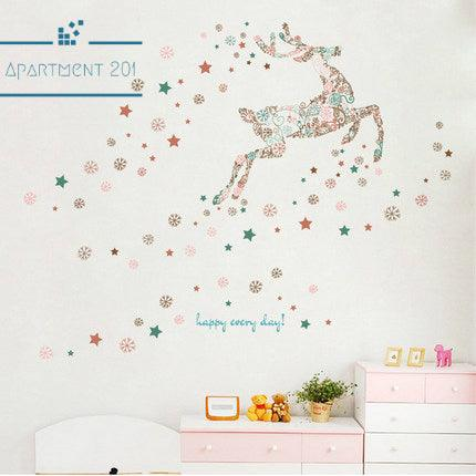 Snowflakes & Reindeer Wall Decal - apt201