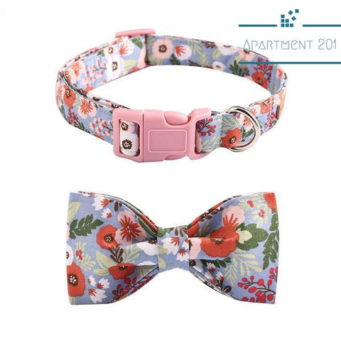 Floral Cool Bowtie Collar and Leash - apt201