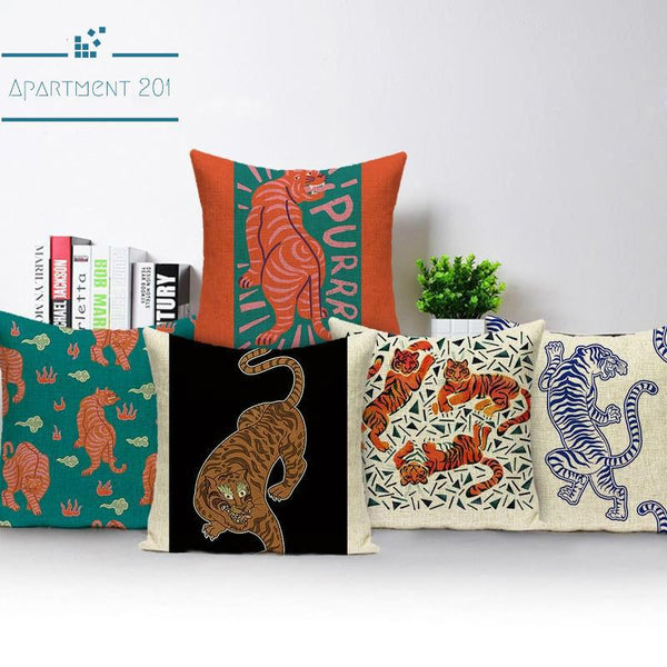 Tiger Patterned Cushion Covers - Apartment 201
