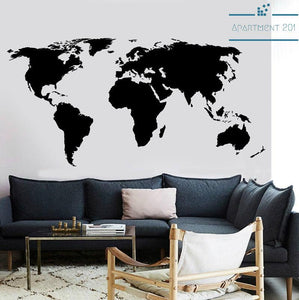 Modern World Map Wall Decal - Apartment 201