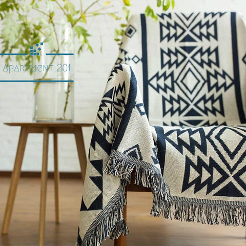 Black & White Tribal Cotton Throw Blanket - Apartment 201