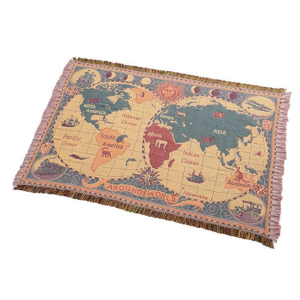 Traveler's Map Cotton Throw Blankets - Apartment 201