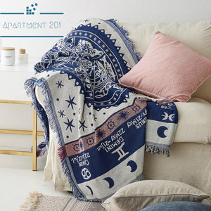 Horoscope Cotton Throw Blankets
