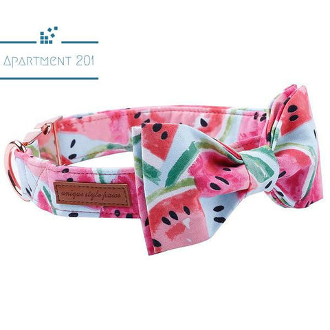 Watermelon Cool Bowtie Collar and Leash - apt201