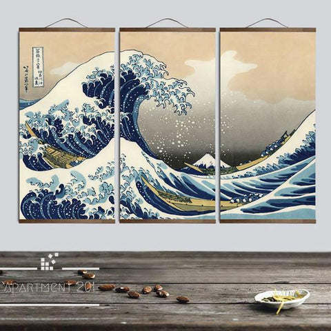 Japanese Wave Canvas Wall Art - apt201
