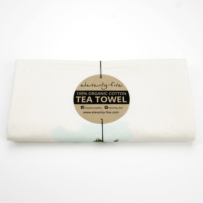 Poppies Organic Cotton Tea Towel - Celedon