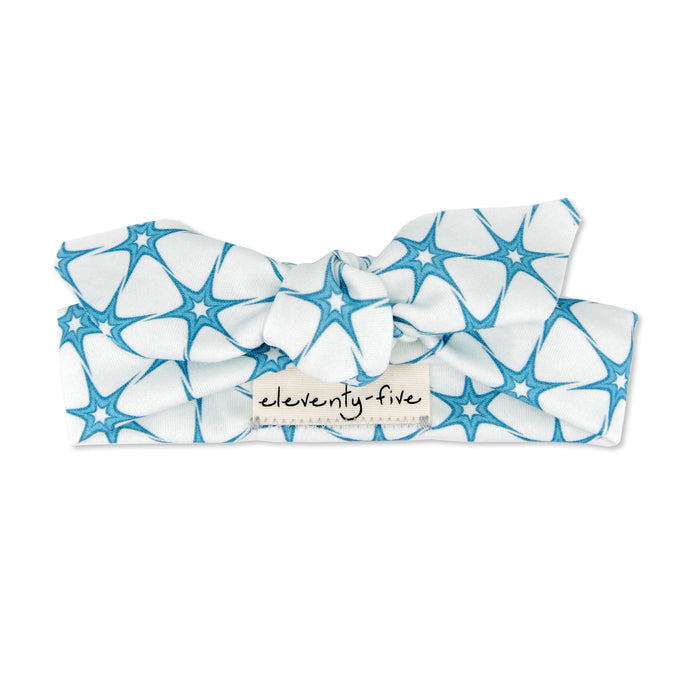 Organic Knotted Headband - Retro Stars in Blue
