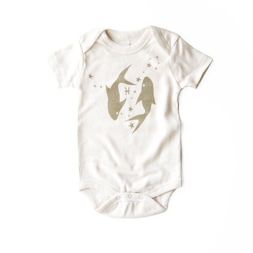 pisces organic onesie february march birthday baby shower gift