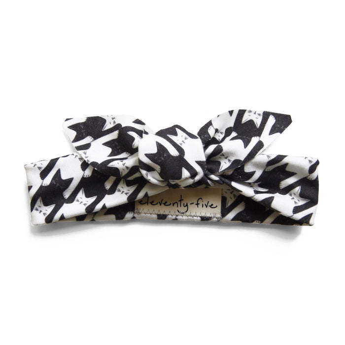 Organic Knotted Headband - Catstooth in Black + White