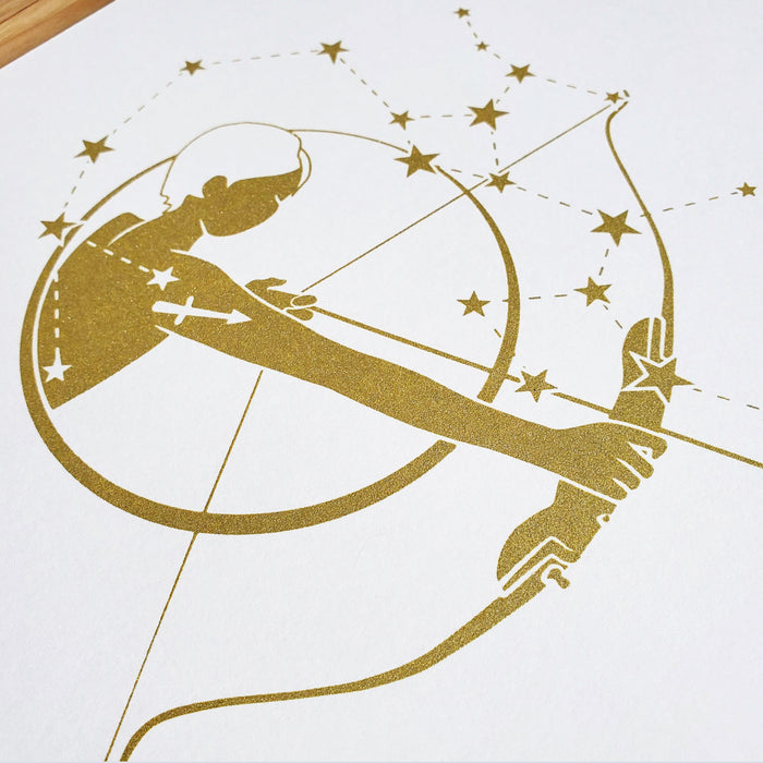 Sagittarius Horoscope Gift Constellation 8 x 10 Silk Screen Print - Hand Printed in Shimmery Gold - Unframed