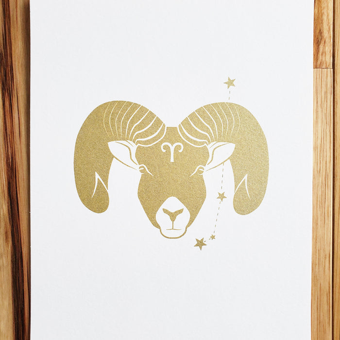 Aries 8 x 10 Silk Screen Print - Hand Printed in Shimmery Gold - Unframed