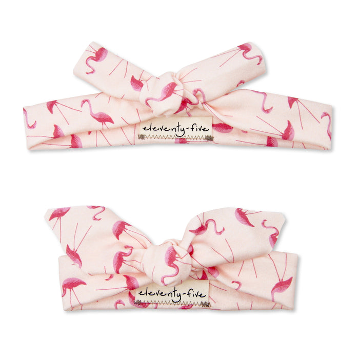 Organic Knotted Headband - Pink Flamingos