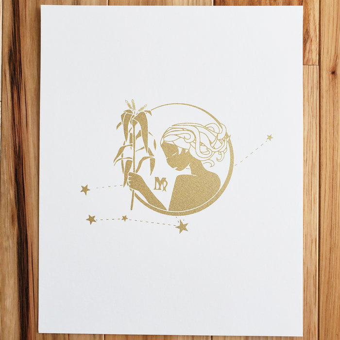 Virgo Horoscope Gift Constellation 8 x 10 Silk Screen Print - Hand Printed in Shimmery Gold - Unframed