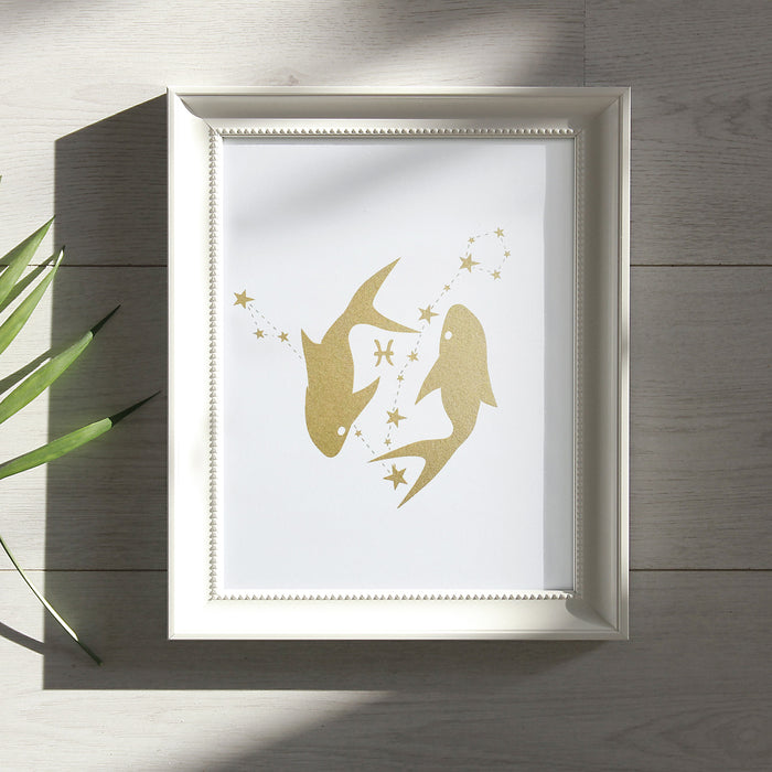 Pisces Horoscope Gift Constellation 8 x 10 Silk Screen Print - Hand Printed in Shimmery Gold - Unframed