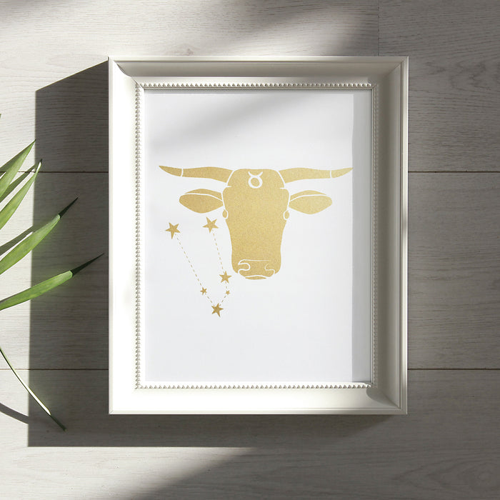 Taurus Horoscope Gift Constellation 8 x 10 Silk Screen Print - Hand Printed in Shimmery Gold - Unframed