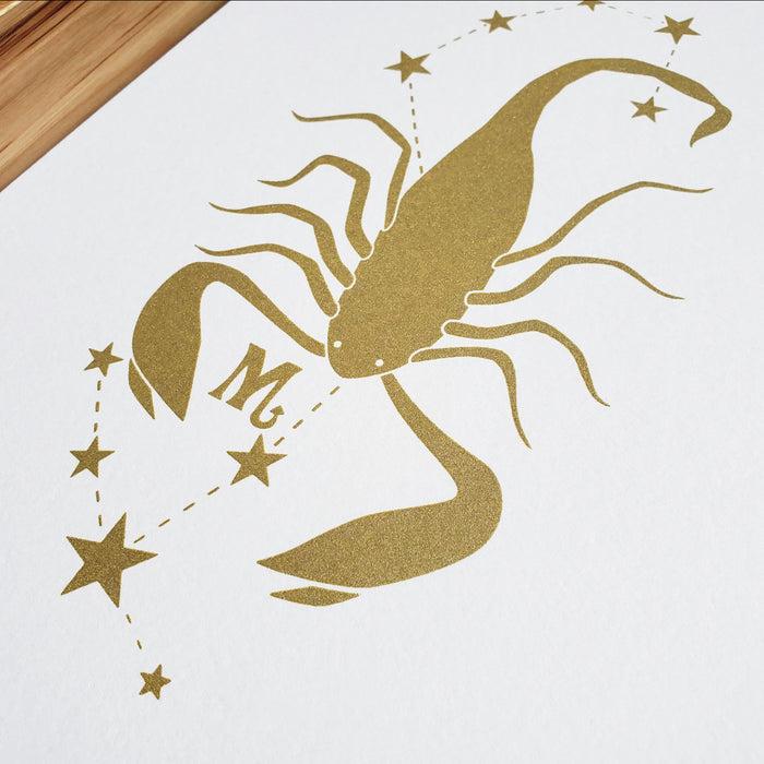 Scorpio Horoscope Gift Constellation 8 x 10 Silk Screen Print - Hand Printed in Shimmery Gold - Unframed