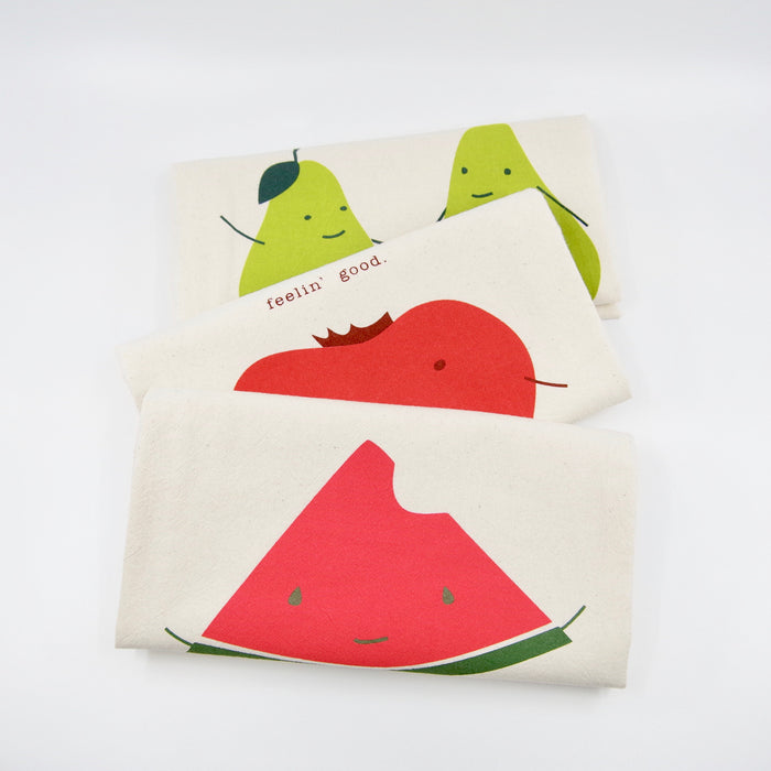 funny kitchen towels with sayings pun perfect pear one in a melon organic cotton handmade