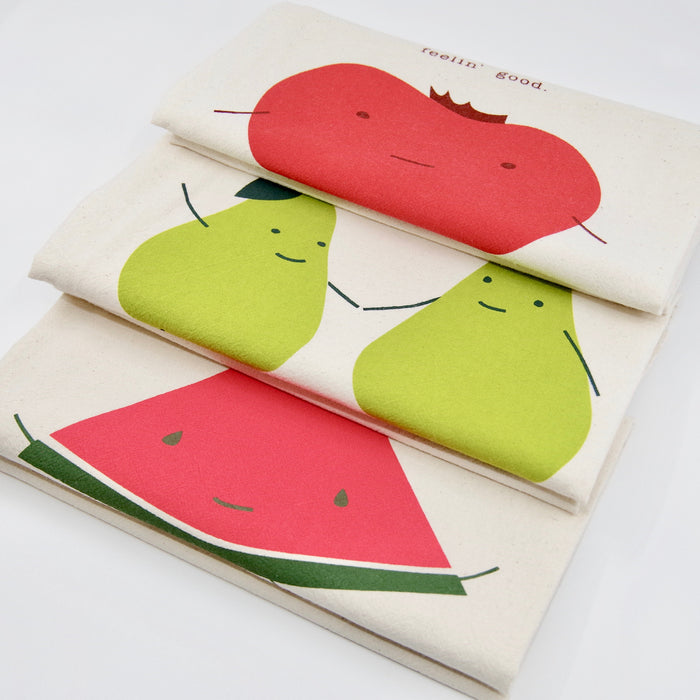 funny kitchen towels with sayings gift set idea pun perfect pear one in a melon organic cotton handmade