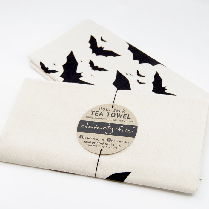 Austin Texas Tea Towel Gift | Bats over Congress Avenue Bridge | Screen Printed Flour Sack Dish Cloth | Fair Trade Housewarming Gifts