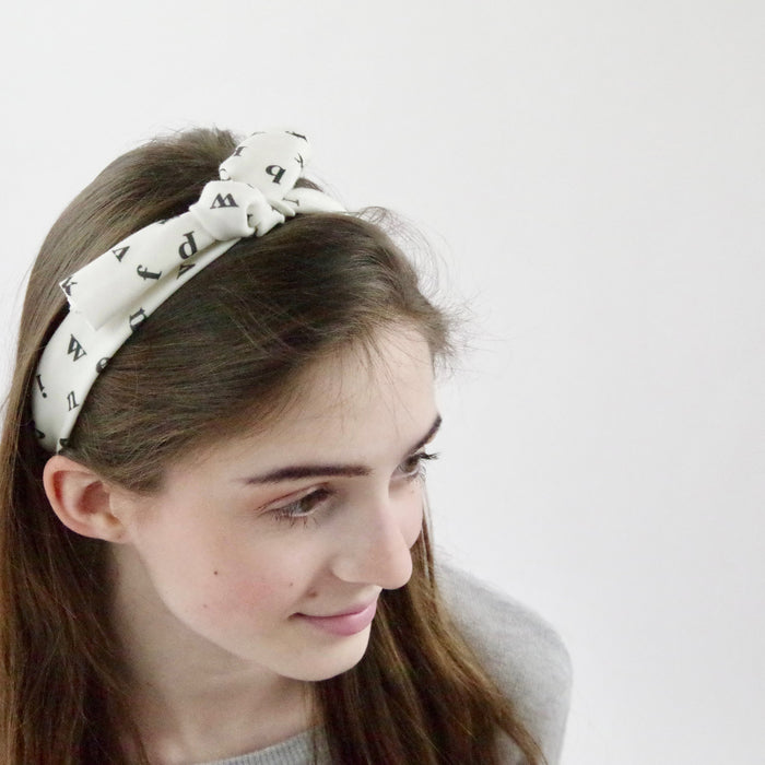 Organic Knotted Headband - Beetles in Blue