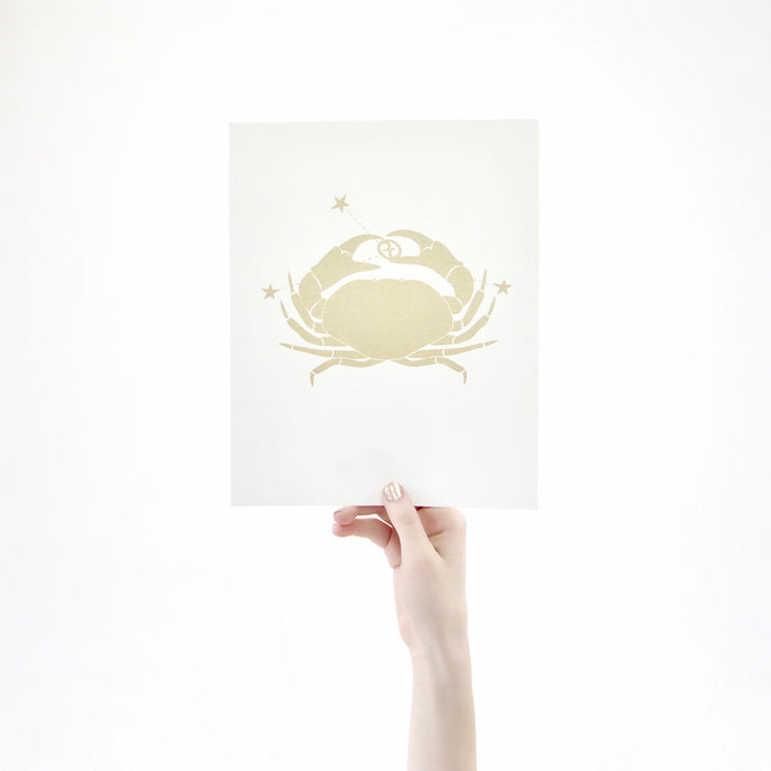Cancer Horoscope Gift Constellation 8 x 10 Silk Screen Print - Hand Printed in Shimmery Gold - Unframed