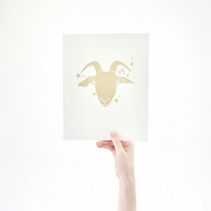 Capricorn Horoscope Gift Constellation 8 x 10 Silk Screen Print - Hand Printed in Shimmery Gold - Unframed