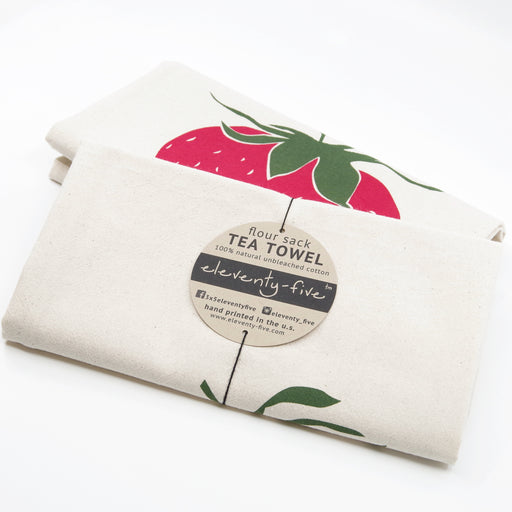 organic strawberry kitchen tea towel gift idea