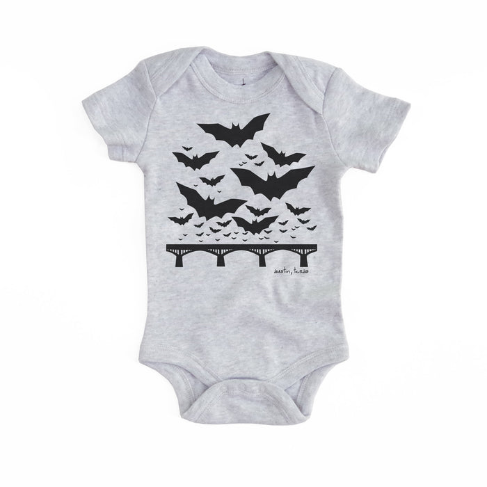 Austin Texas Bats Organic Baby Bodysuit - Heather Grey