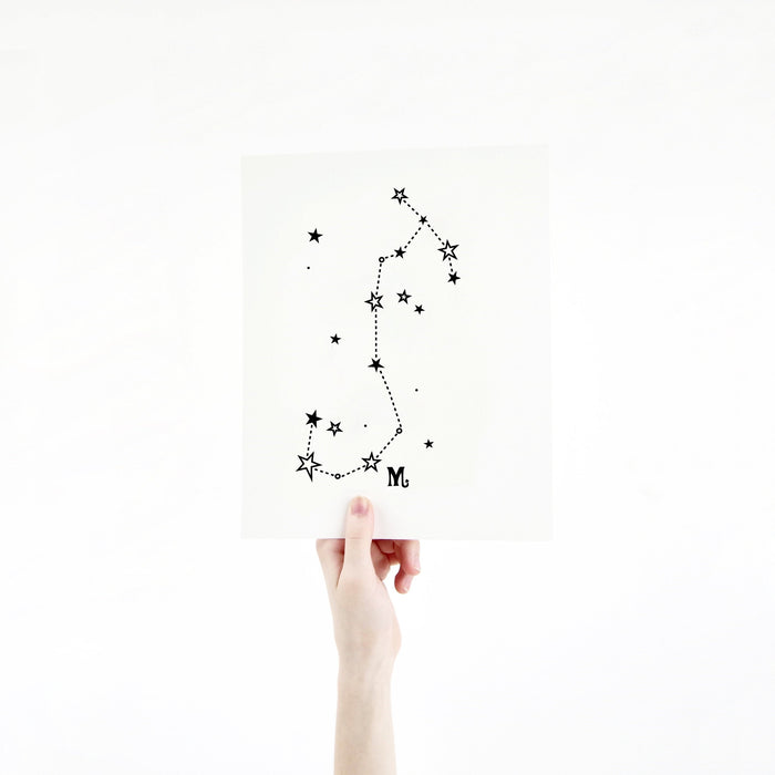 Scorpio Horoscope Gift Constellation 8 x 10 Silk Screen Print - Hand Printed in Black - Unframed