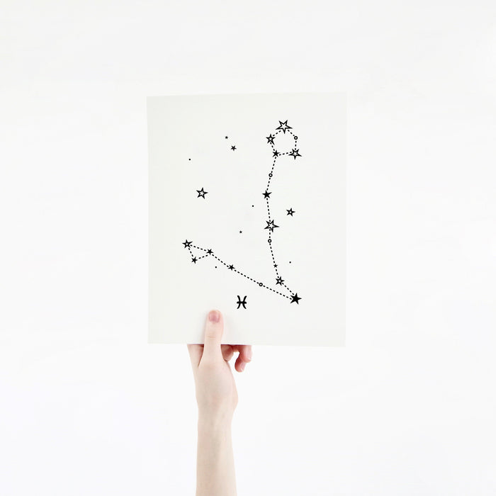 Pisces Horoscope Gift Constellation 8 x 10 Silk Screen Print - Hand Printed in Black - Unframed