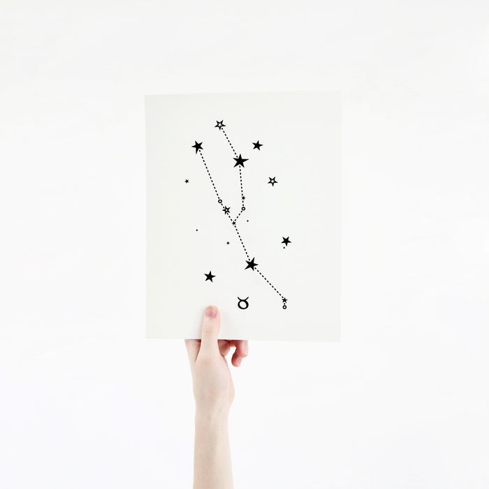 Taurus Horoscope Gift Constellation 8 x 10 Silk Screen Print - Hand Printed in Black - Unframed