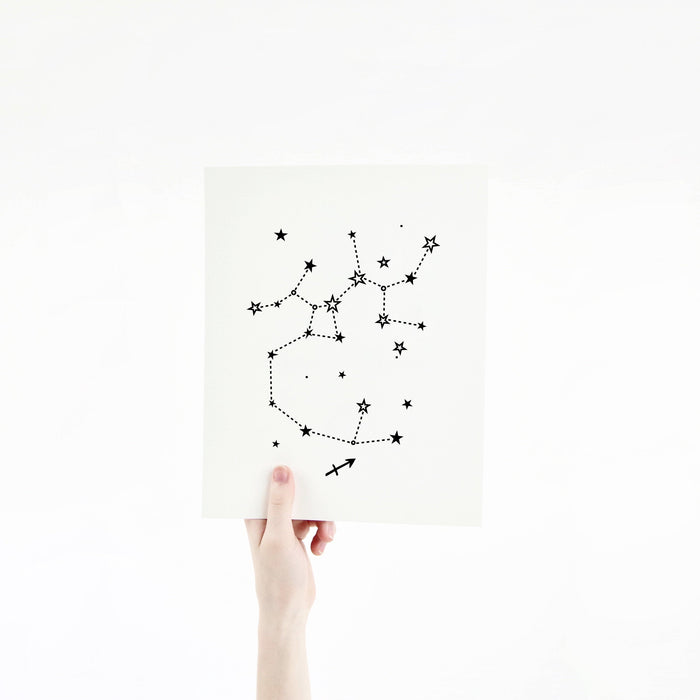 Sagittarius Horoscope Gift Constellation 8 x 10 Silk Screen Print - Hand Printed in Black - Unframed