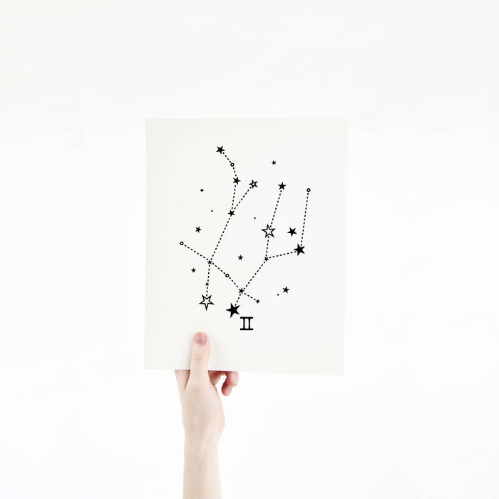 Gemini Horoscope Gift Constellation 8 x 10 Silk Screen Print - Hand Printed in Black - Unframed