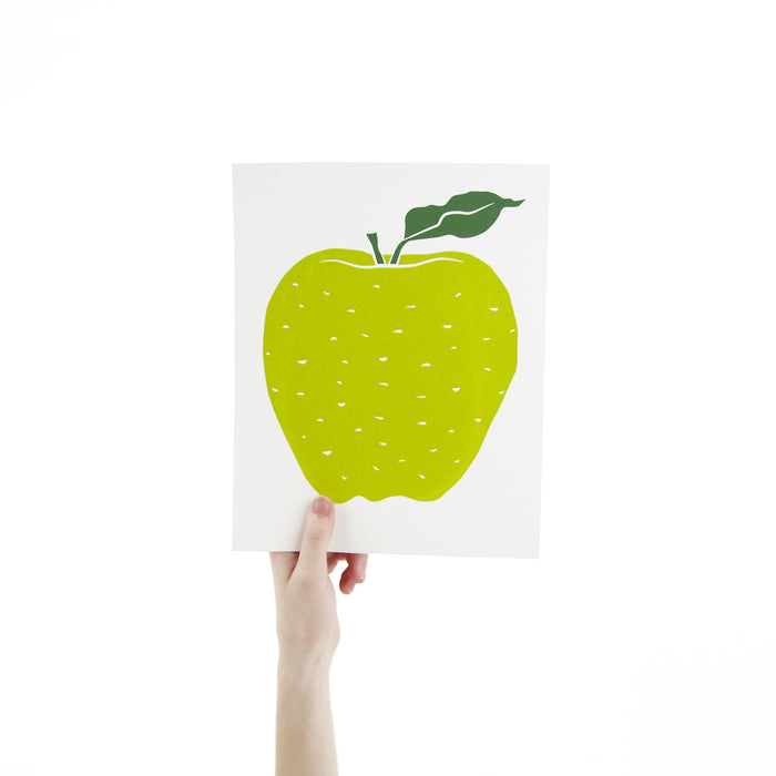 Apple Screen Print Art 8 x 10 Silk Screen Print - Hand Printed Fruit - Home Decor - Unframed