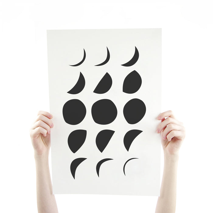 Moon Phase in Black 12 x 18 Silk Screen Print - Hand Printed Poster - Unframed
