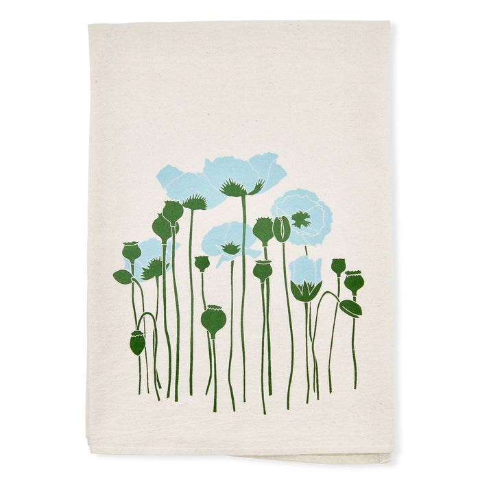 Light Blue Poppies Tea Towel | Poppy Floral Decor | Screen Printed Flour Sack | Natural Cotton | Housewarming Gifts