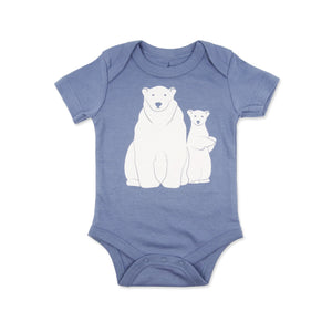 White Polar Bears Organic Cotton Baby Bodysuit - Steel Blue