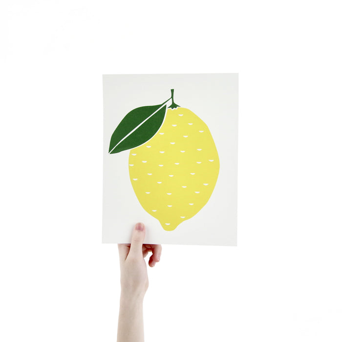 Lemon Screen Print Art 8 x 10 Silk Screen Print - Hand Printed Fruit - Home Decor - Unframed