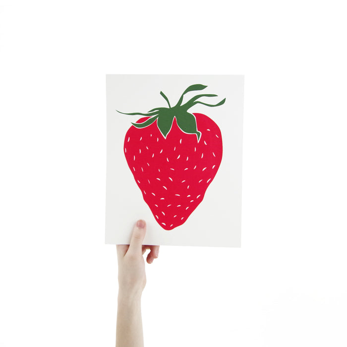 Strawberry Screen Print Art 8 x 10 Silk Screen Print - Hand Printed Fruit - Home Decor - Unframed