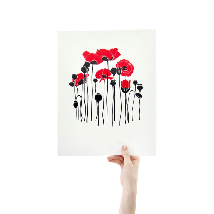 Red Poppies 11 x 14 Silk Screen Print - Hand Printed Poster - Unframed