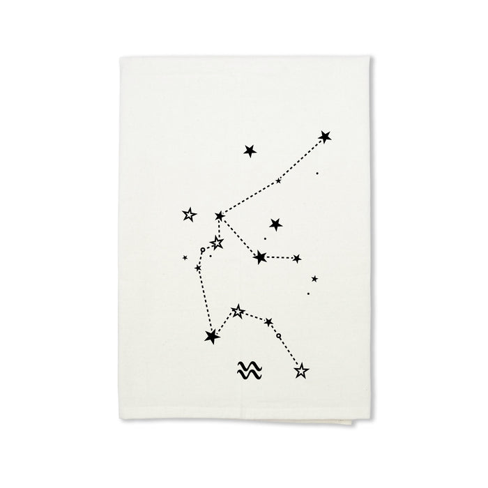 Aquarius Zodiac Sign Organic Cotton Tea Towel