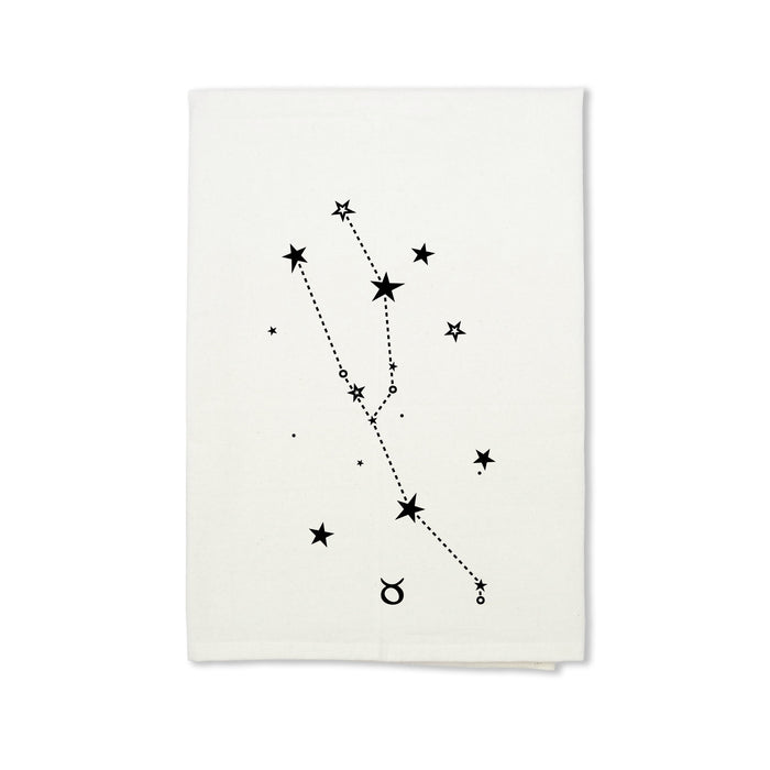 Taurus Zodiac Sign Organic Cotton Tea Towel