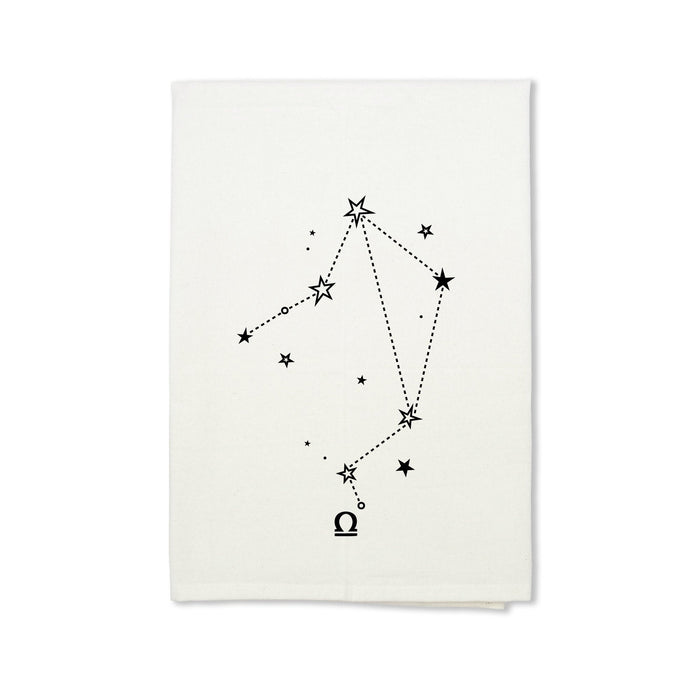 Libra Zodiac Sign Organic Cotton Tea Towel